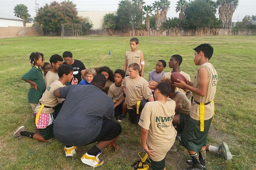 Flag football students