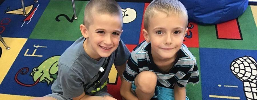 Two happy 1st grade boys