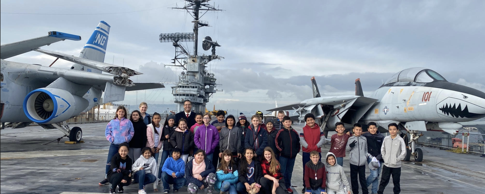 Combined Collegeville/Farmington 5th grade field trip to USS Hornet