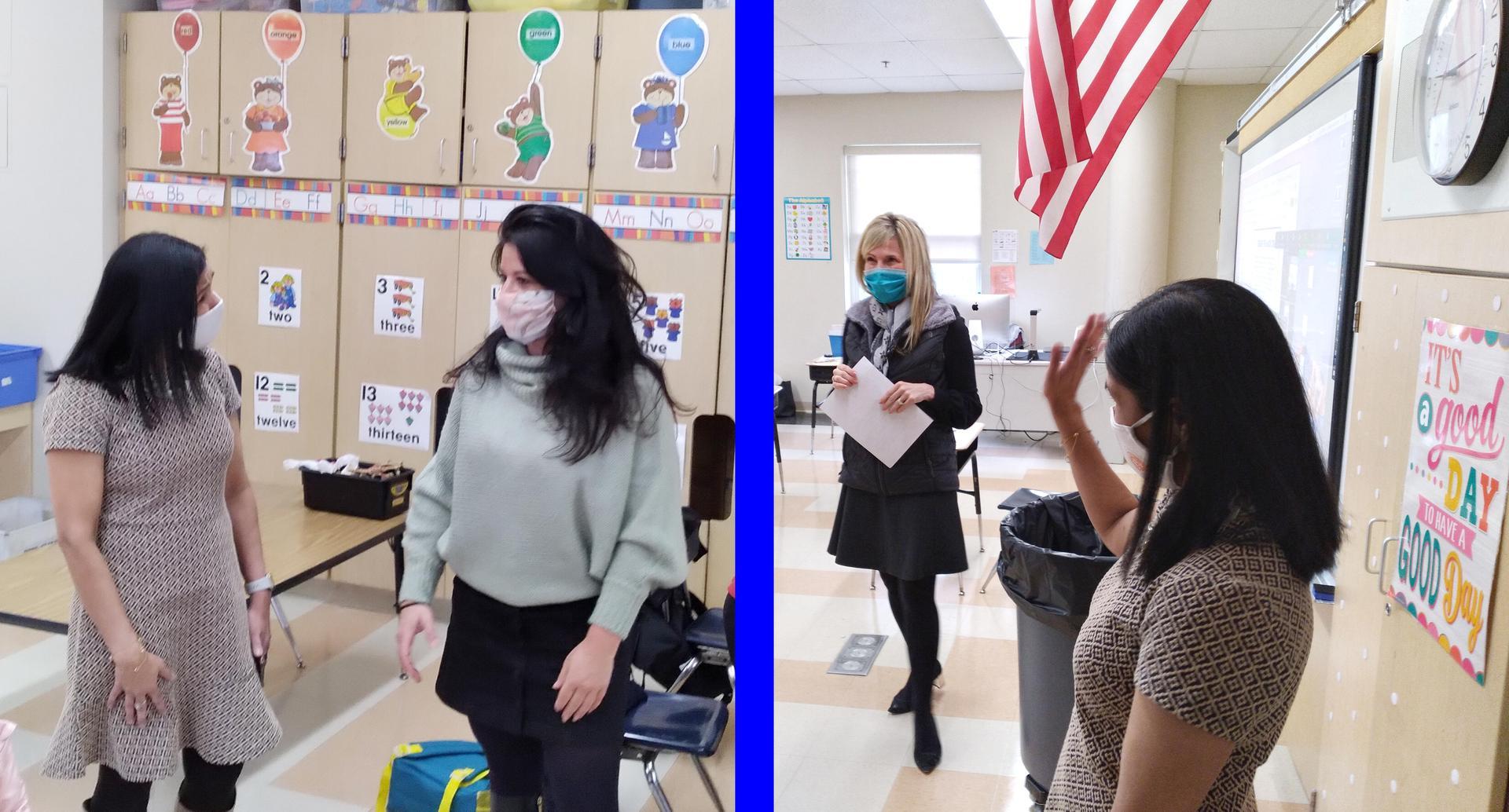 Two-tile photo, superintendent talking to teachers