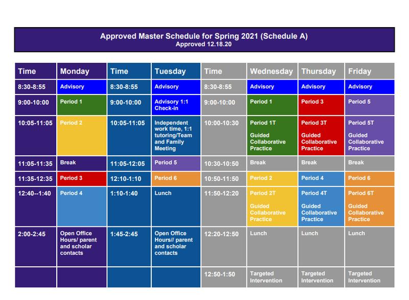 Spring 2021 School Schedule Thumbnail Image
