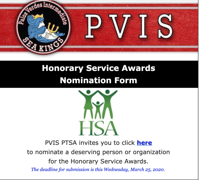 Honorary Service Award Nomination Form 2019-2020 PVIS School Year Thumbnail Image