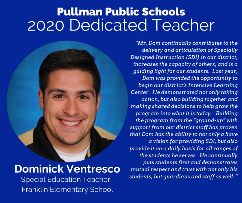 Franklin Elementary School Teacher Dominick Ventresco Named Recipient of 2020 Dedicated Teacher Award Thumbnail Image