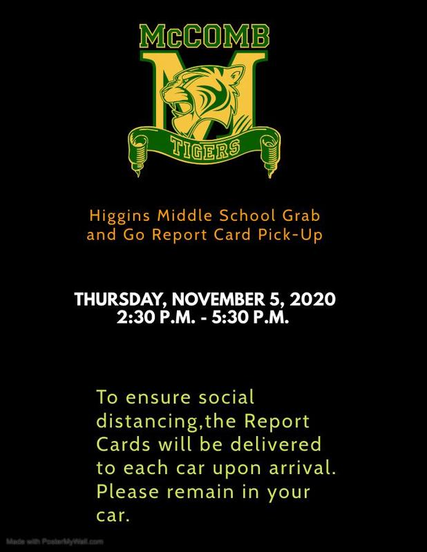 Higgins Middle School Grab and Go Report Card Pick-Up News 2020