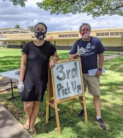 3rd grade teachers in mask at packet pickup