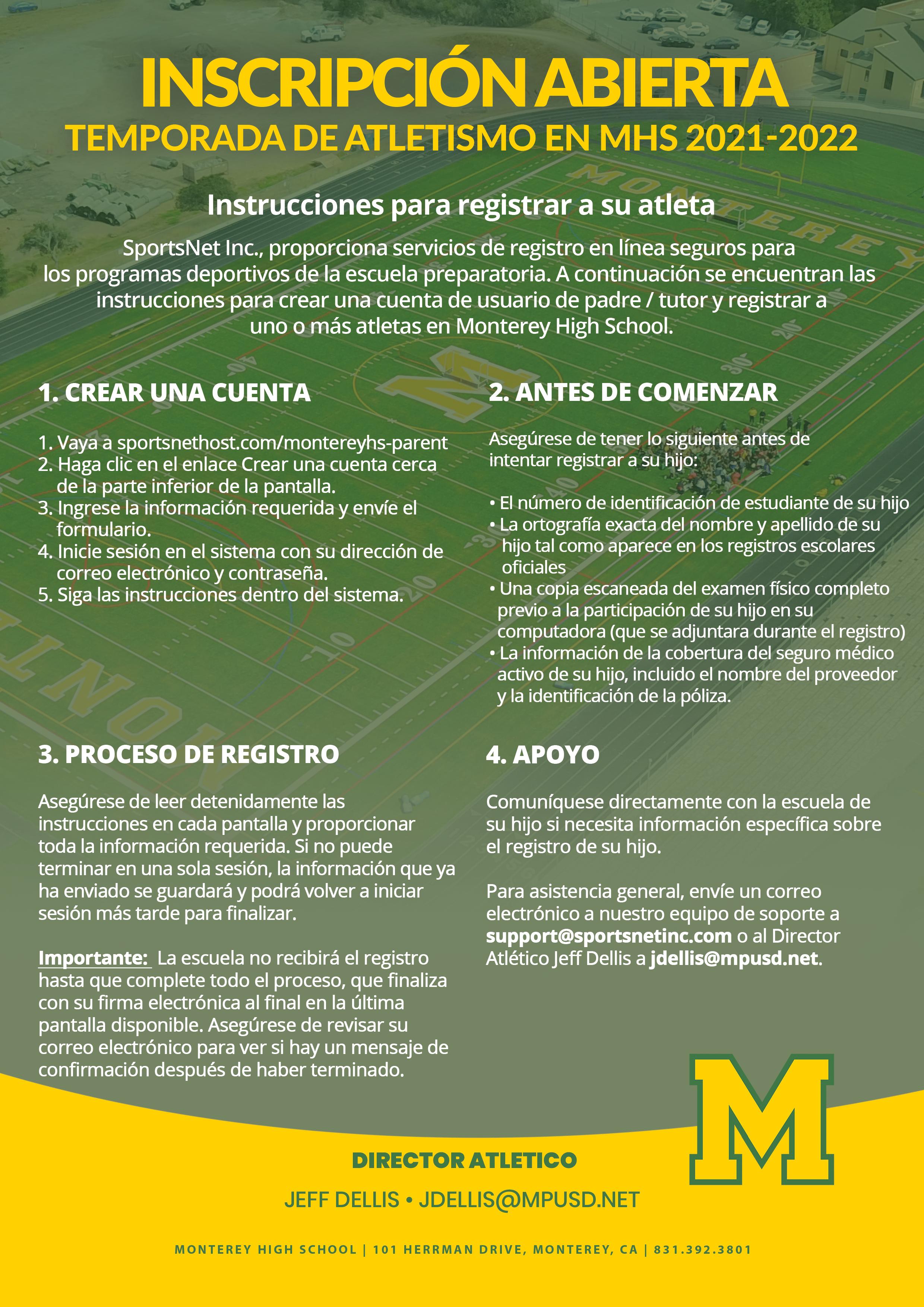 Sports Registration (Spanish)