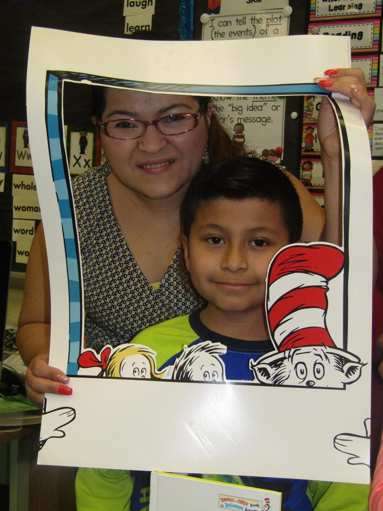 mom and son in cat in the hat picture frame cut out