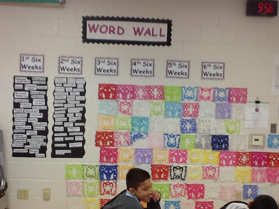 Word Wall filled with Vocabulary for each Six Weeks