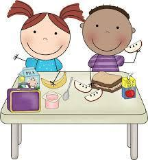 2 cartoon students eating apple, and sandwich at a table
