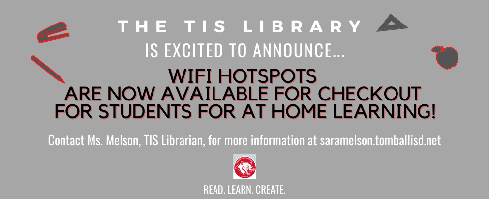 Hotspots are now available for check out for at home learning.