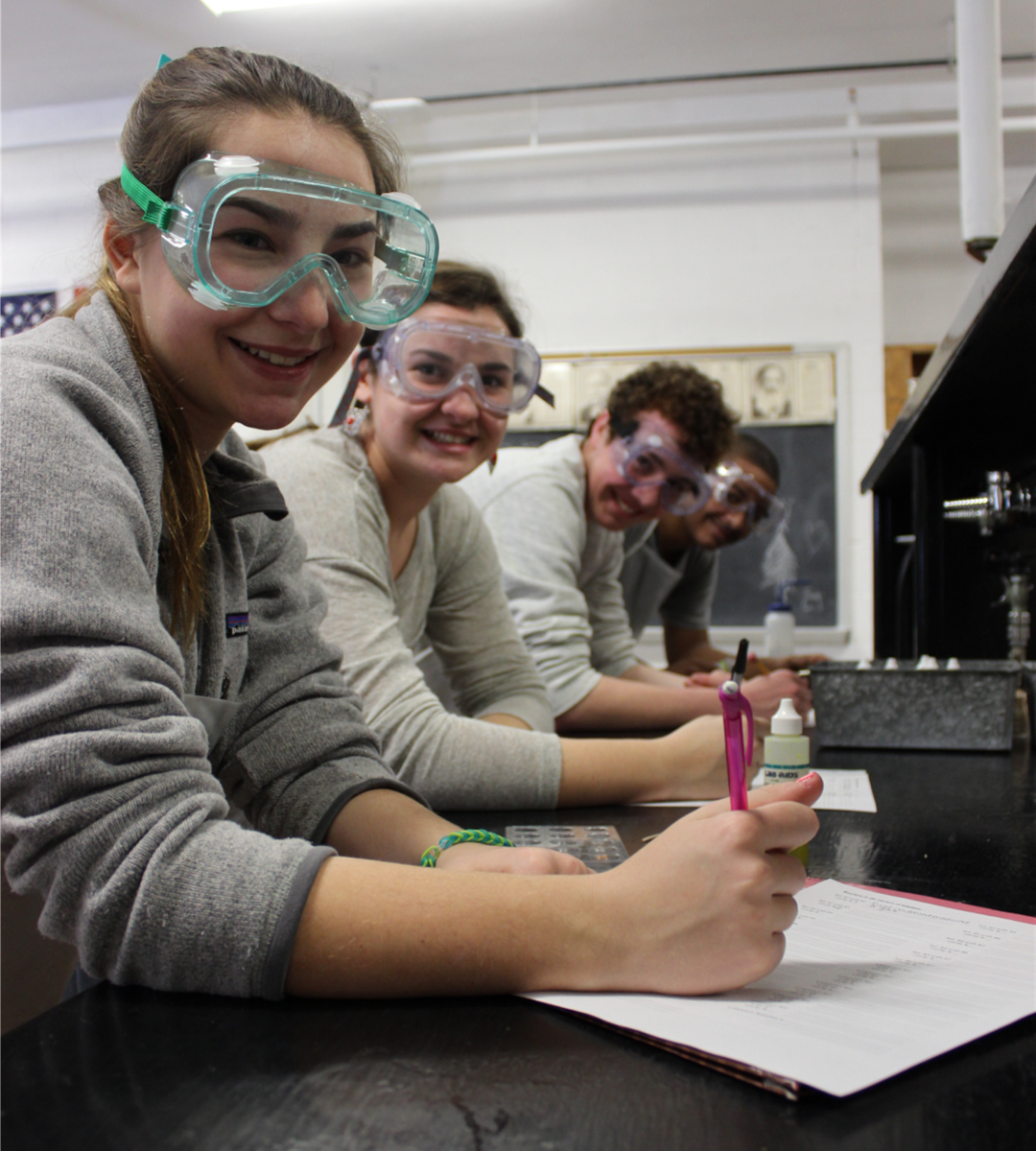 chem lab students in goggles