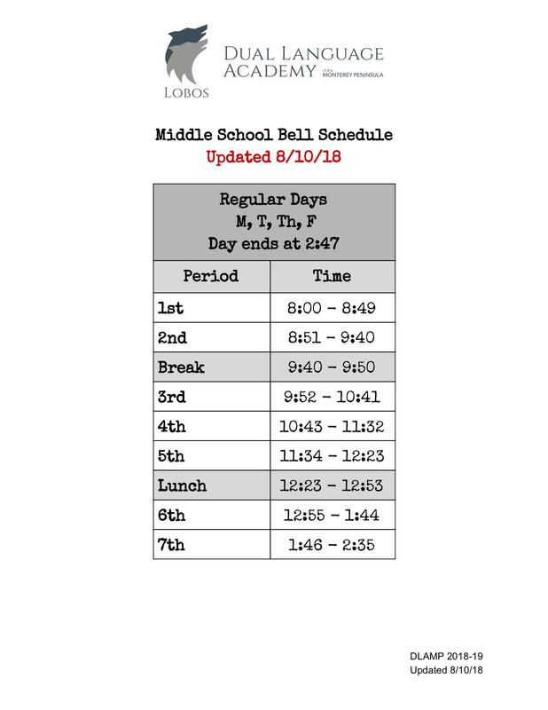 Updated Middle School Schedule for Monday 8/13/18