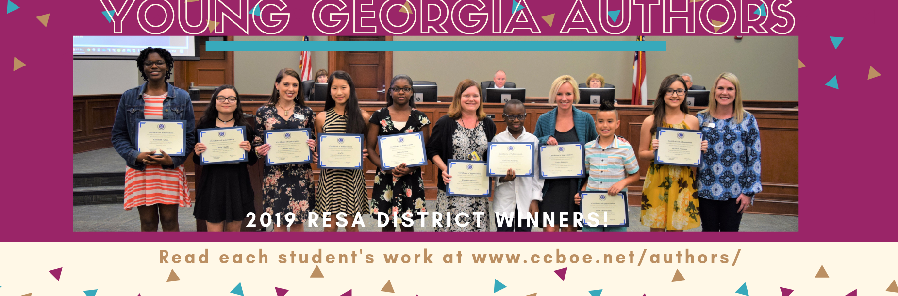 Young Georgia Authors with certificates at the BOE meeting.