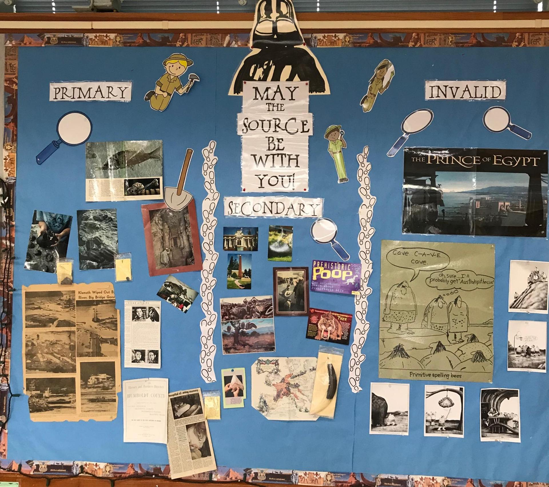 May the Source Be With You bulletin board shows students the difference between primary and secondary sources.
