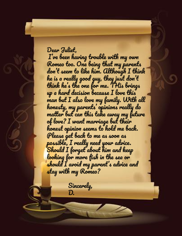 Letter to Juliet from D.