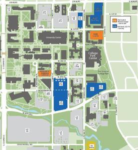 parking map, orange and blue labeled parking garages
