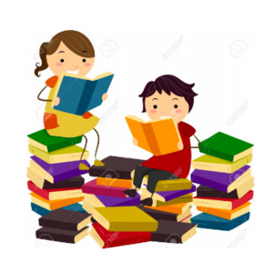 graphic of students with piles of books