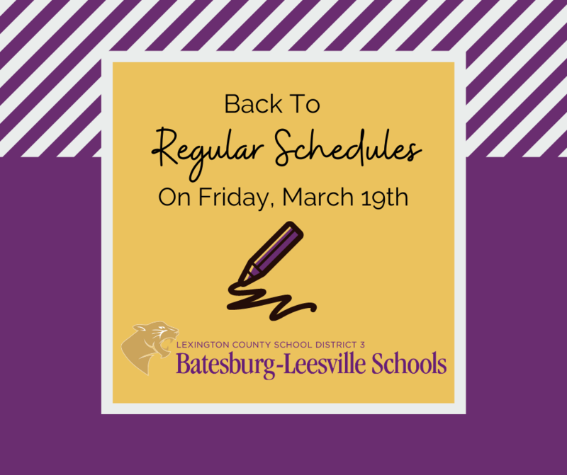Lexington Three Will Operate On Its Regular Schedule on Friday, March 19th