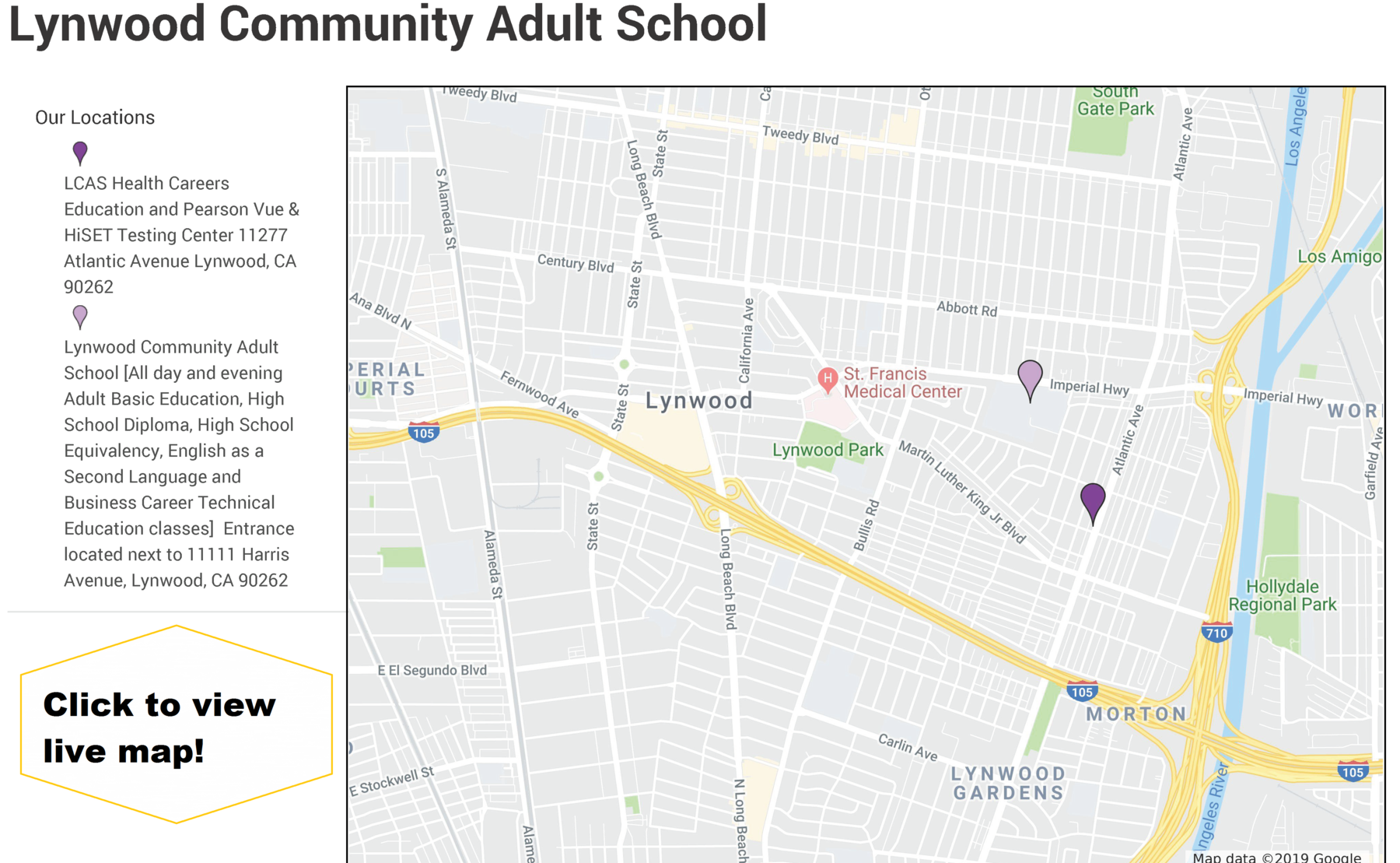 Map of Lynwood Community Adult School Locations