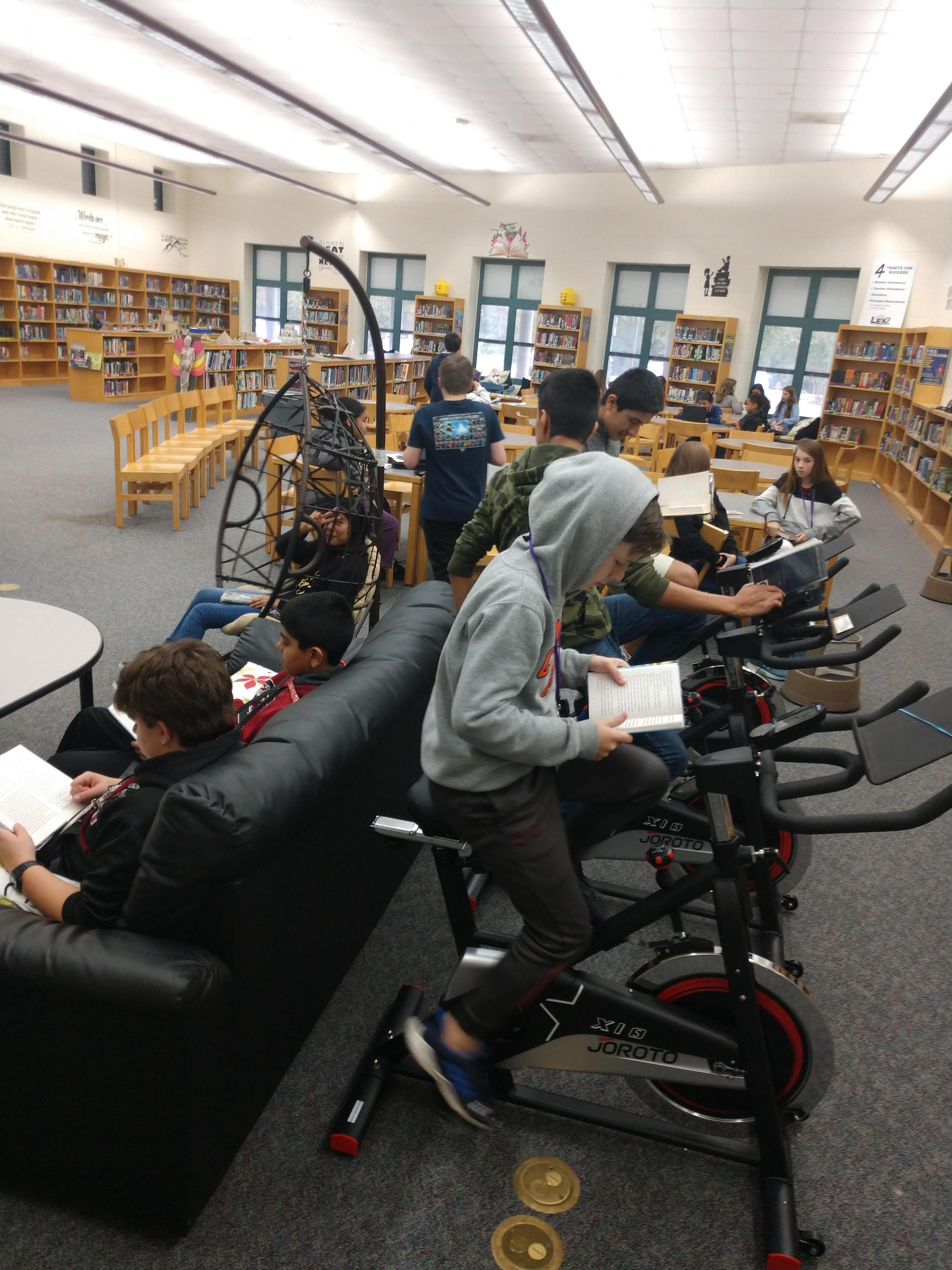 Students enjoying the new reading bikes!