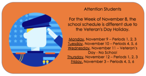 Class Schedule for week of November 8th