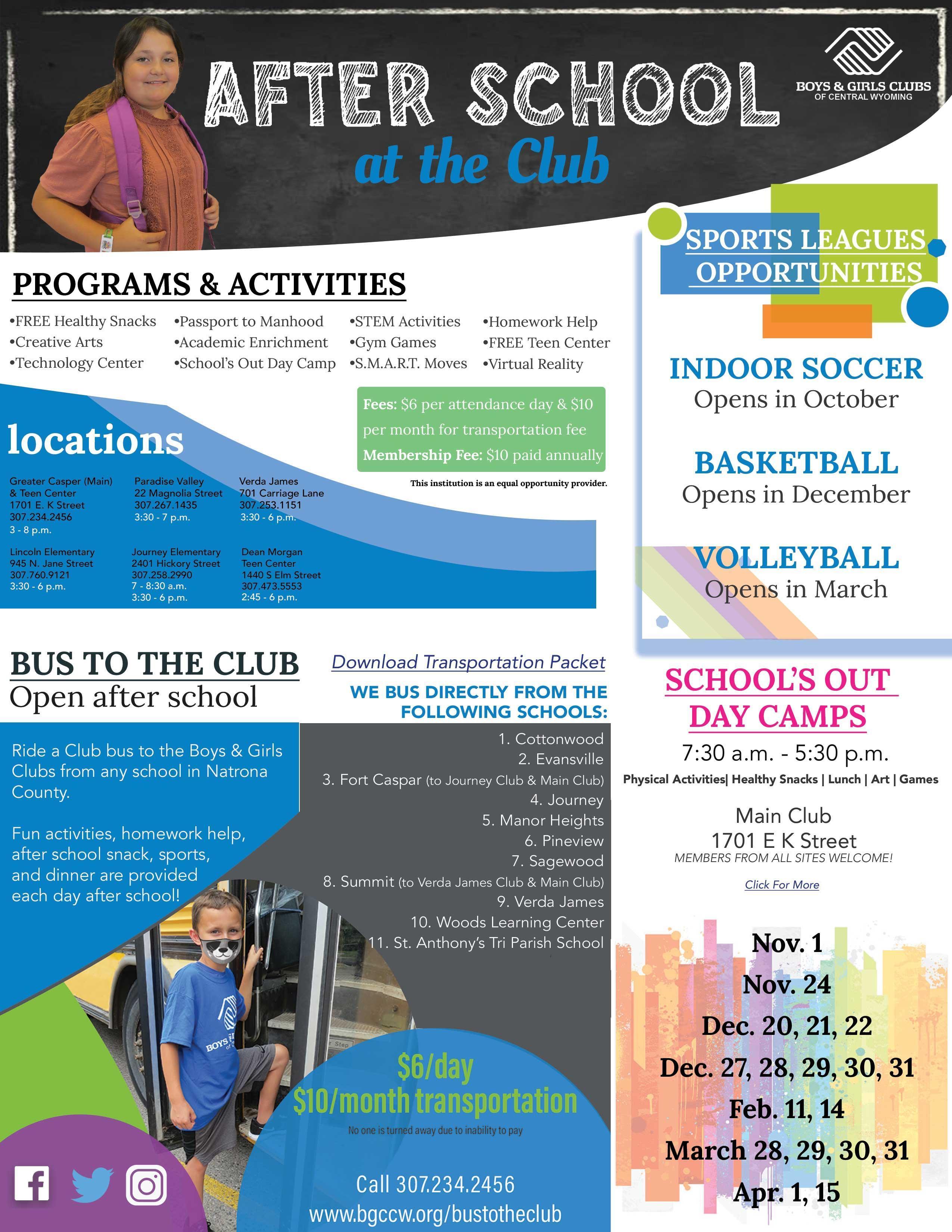 Boys & Girls Club Transportation flyer