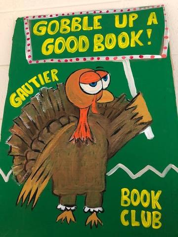 Turkey with book club sign