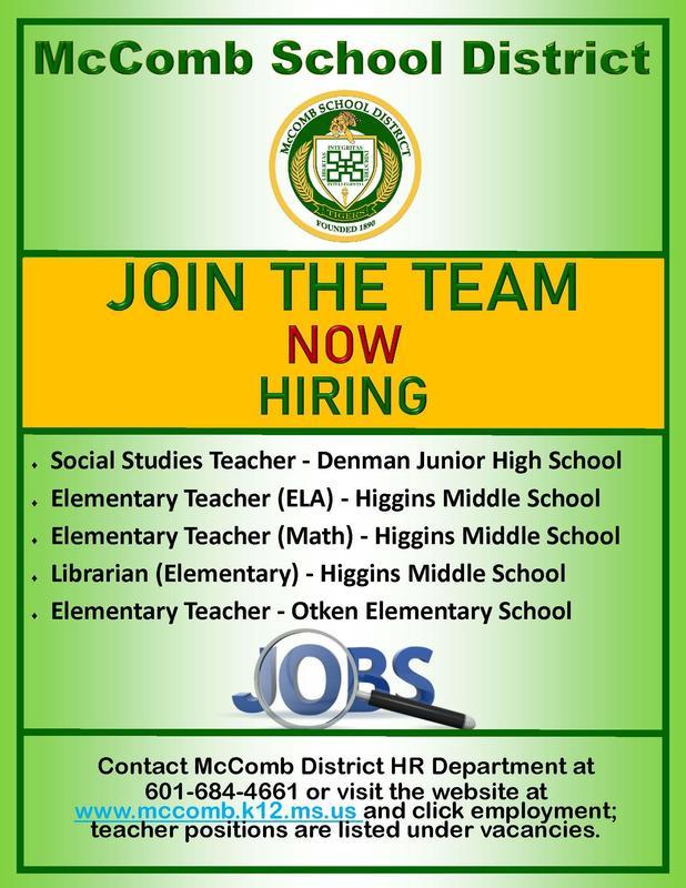 McComb School District Posts Jobs Summer 2019
