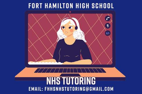 Graphic of a student on a laptop screen with headphones on.