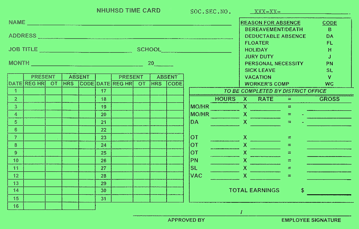 Classified Time Card