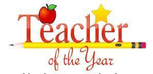 Teacher of the Year logo, apple and yellow pencil in the picture