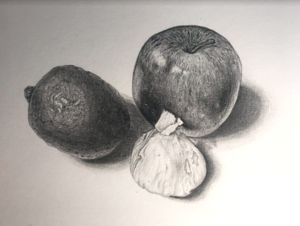 avocado, apple, and garlic still life