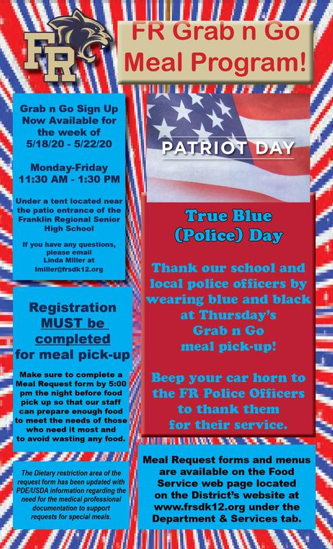 In honor of Memorial Day, please wear your red, white, and blue when you visit the Grab n Go meal distribution tent. Register by 5 PM today.