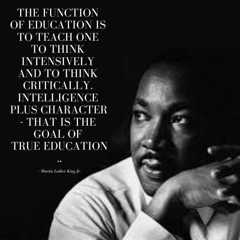 Portrait of Dr. Martin Luther King Jr., with quote