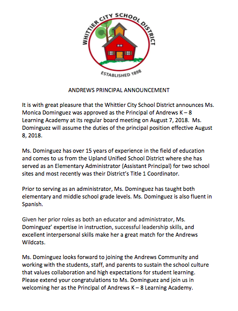 Announcement of the new principal.