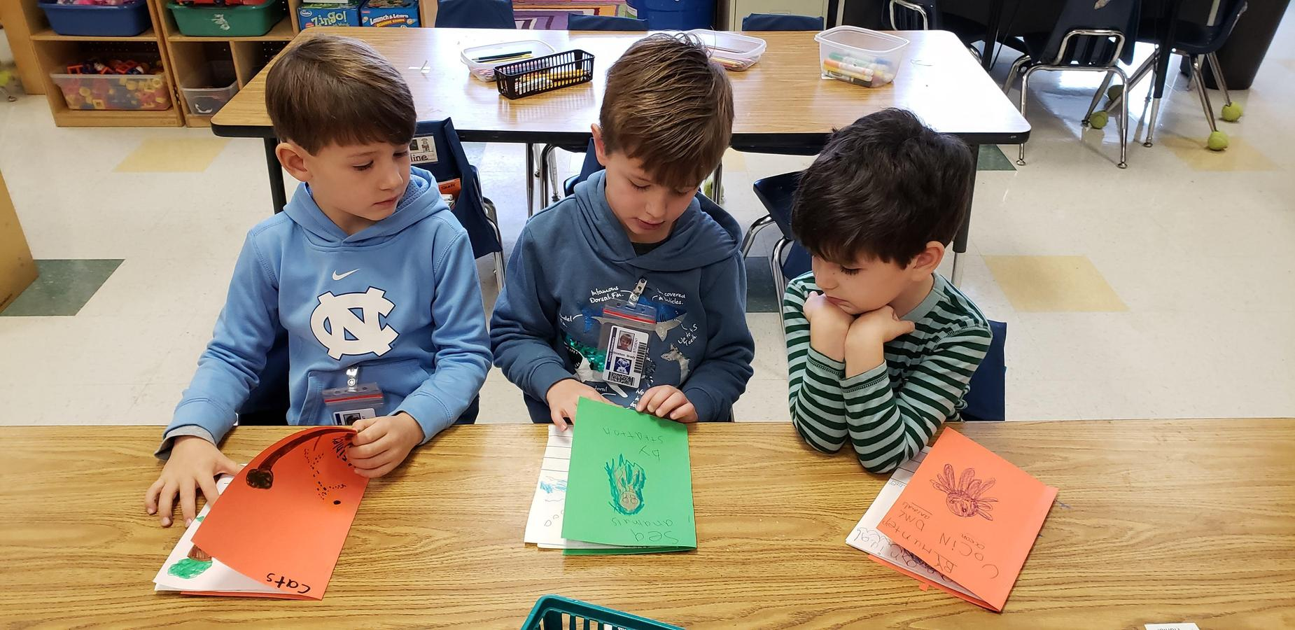 Kindergarten students reading books they wrote