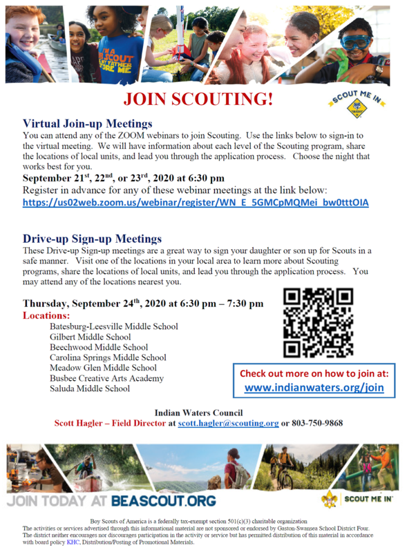 The Scouts will host virtual informational meetings on September 21-24.