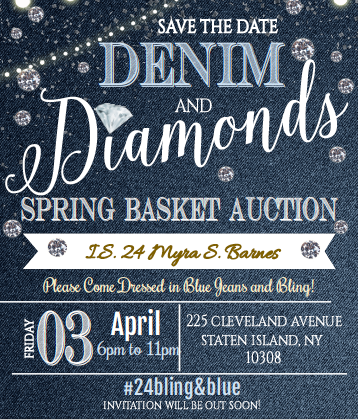 Denim and Diamonds flyer for spring auction invitation to come soon