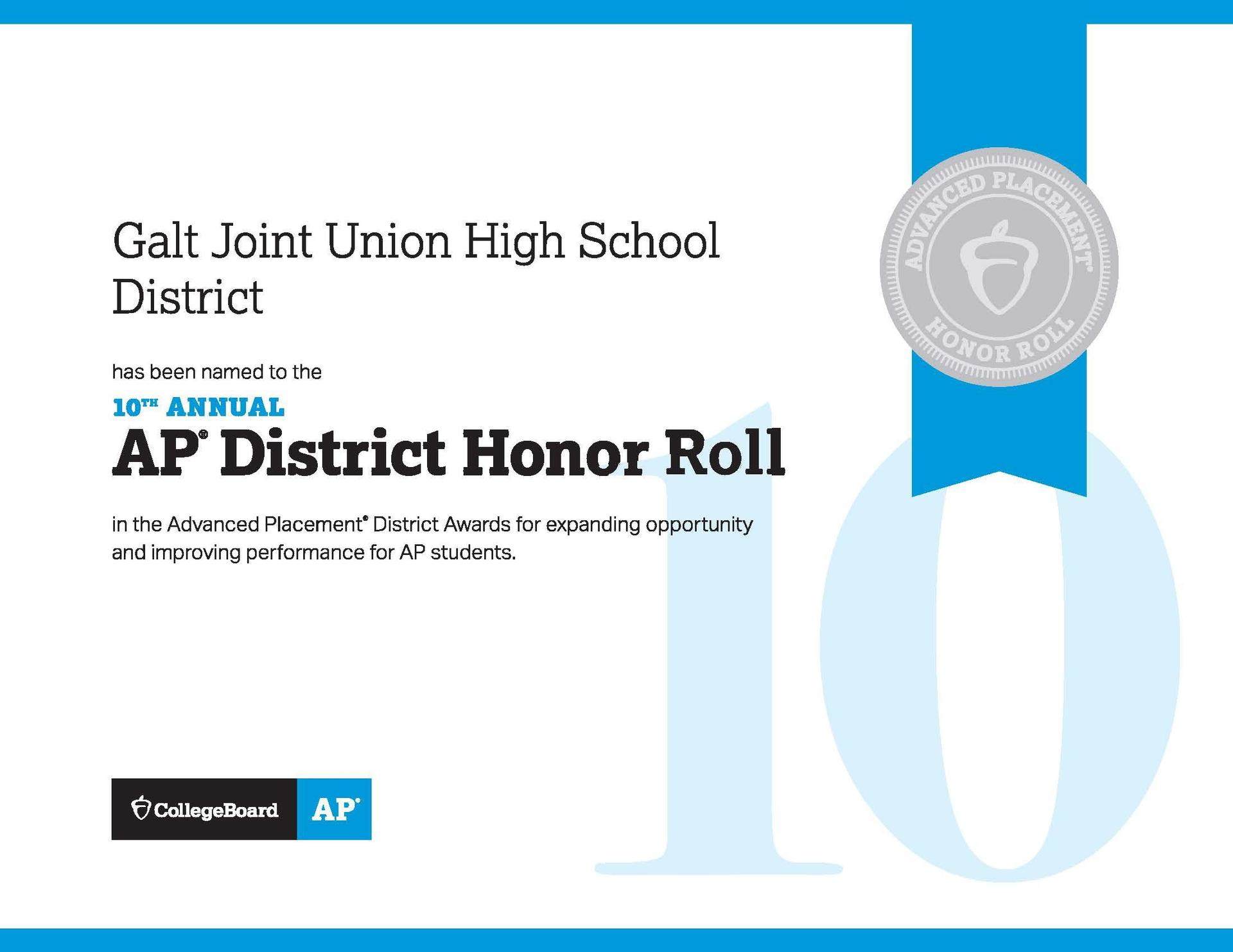 AP District Honor Roll Certificate - Galt Joint Union High School District