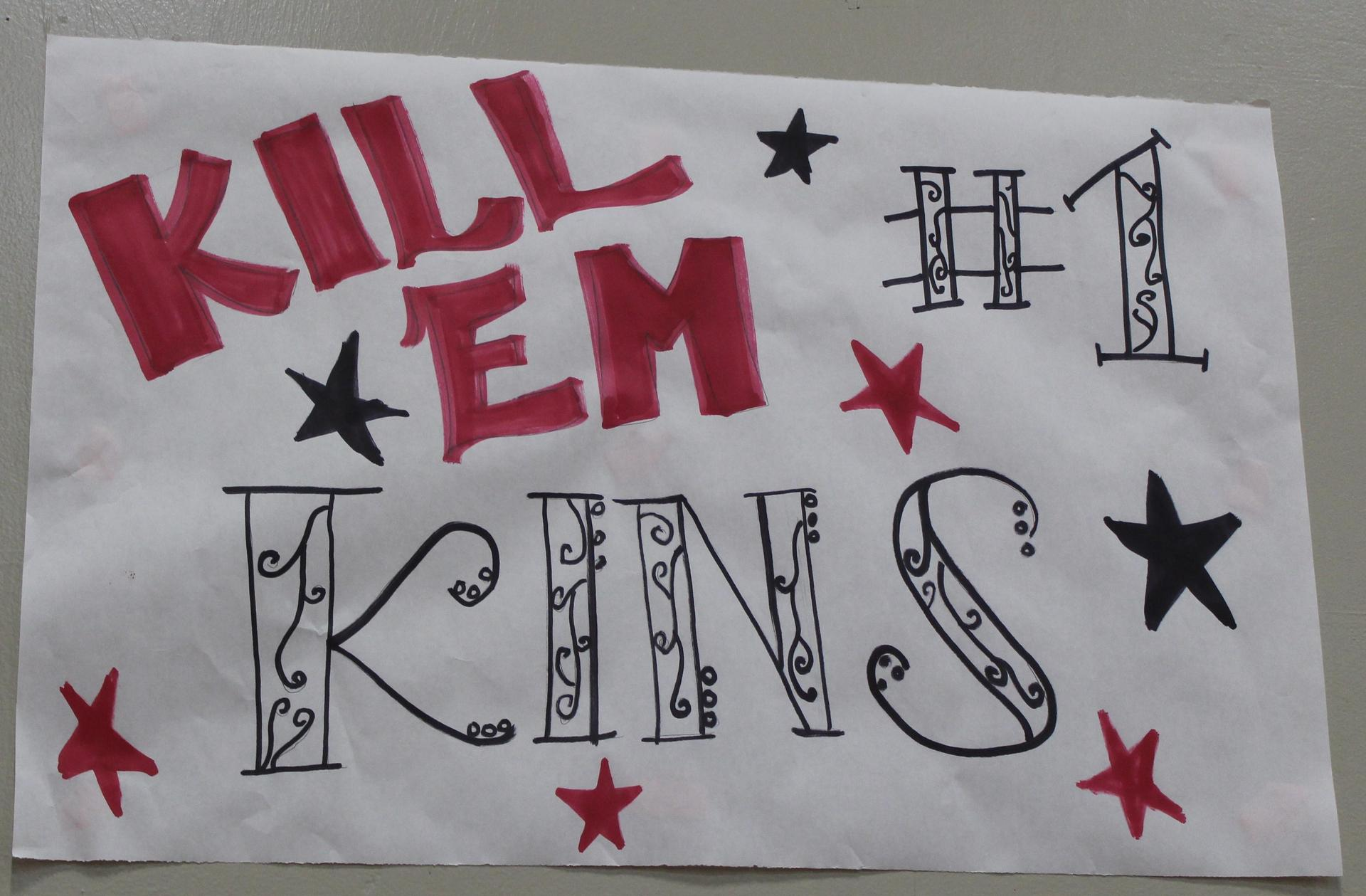 Kinsley Vlot 'Kill 'em Kins' poster on Volleyball Senior Night.