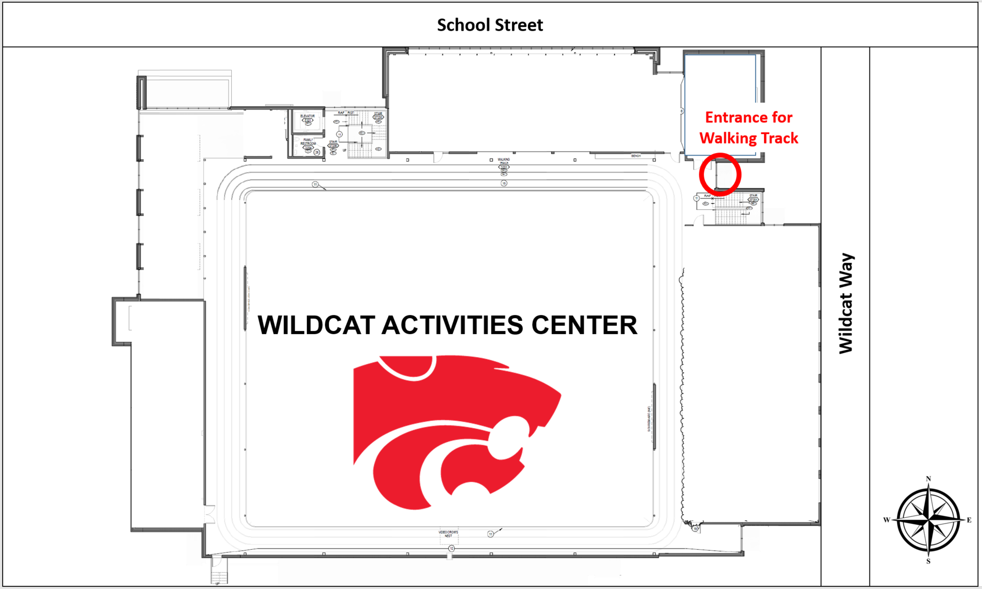 Indoor Walking Track Entrance Map