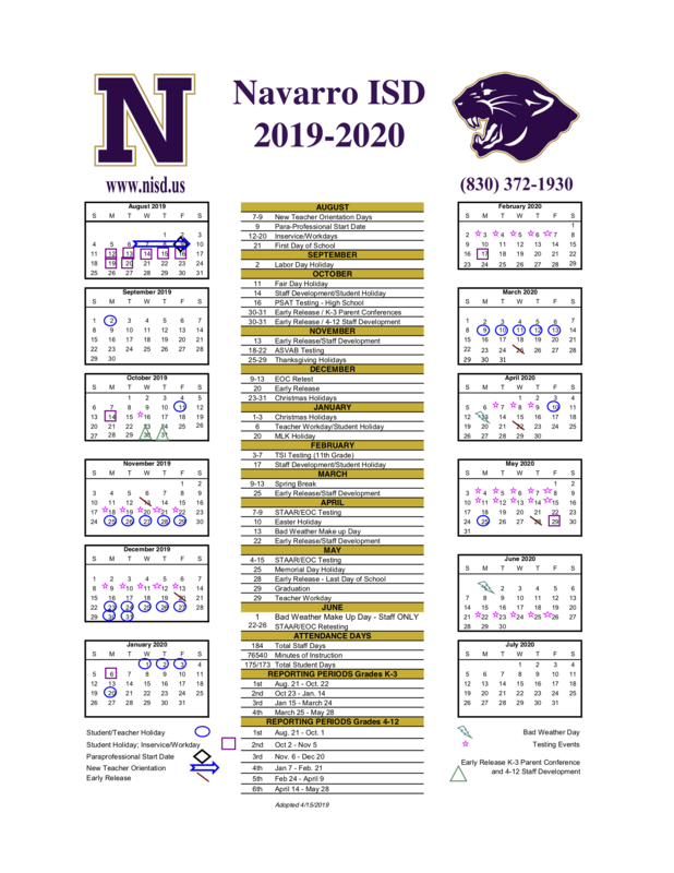 Adopted 2019-2020 Academic Calendar Featured Photo
