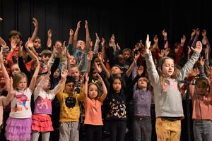 Students performing at the elementary school Christmas program