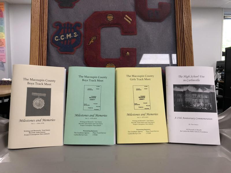 Four historical booklets for sale at Carlinville High School