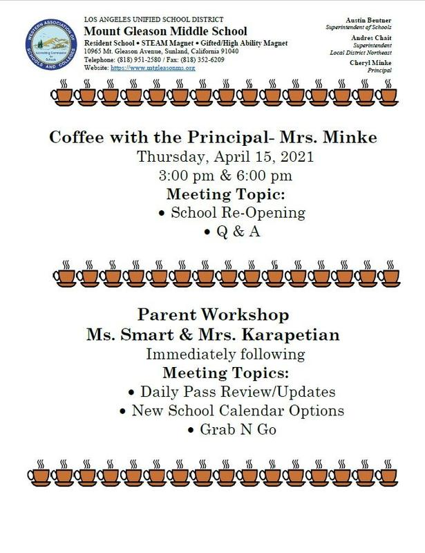 Coffee With The Principal 6:00 PM