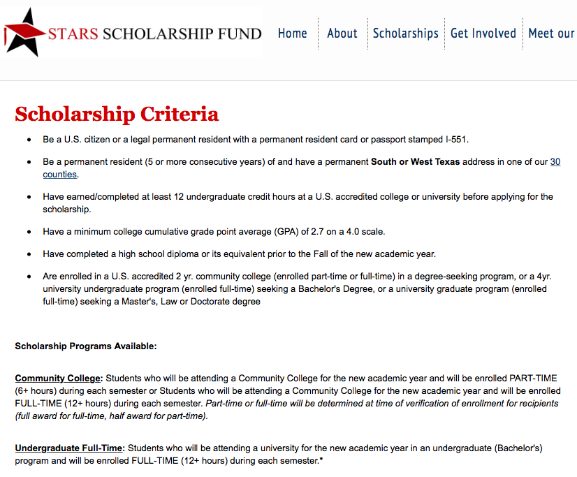 criteria for stars scholarship fund