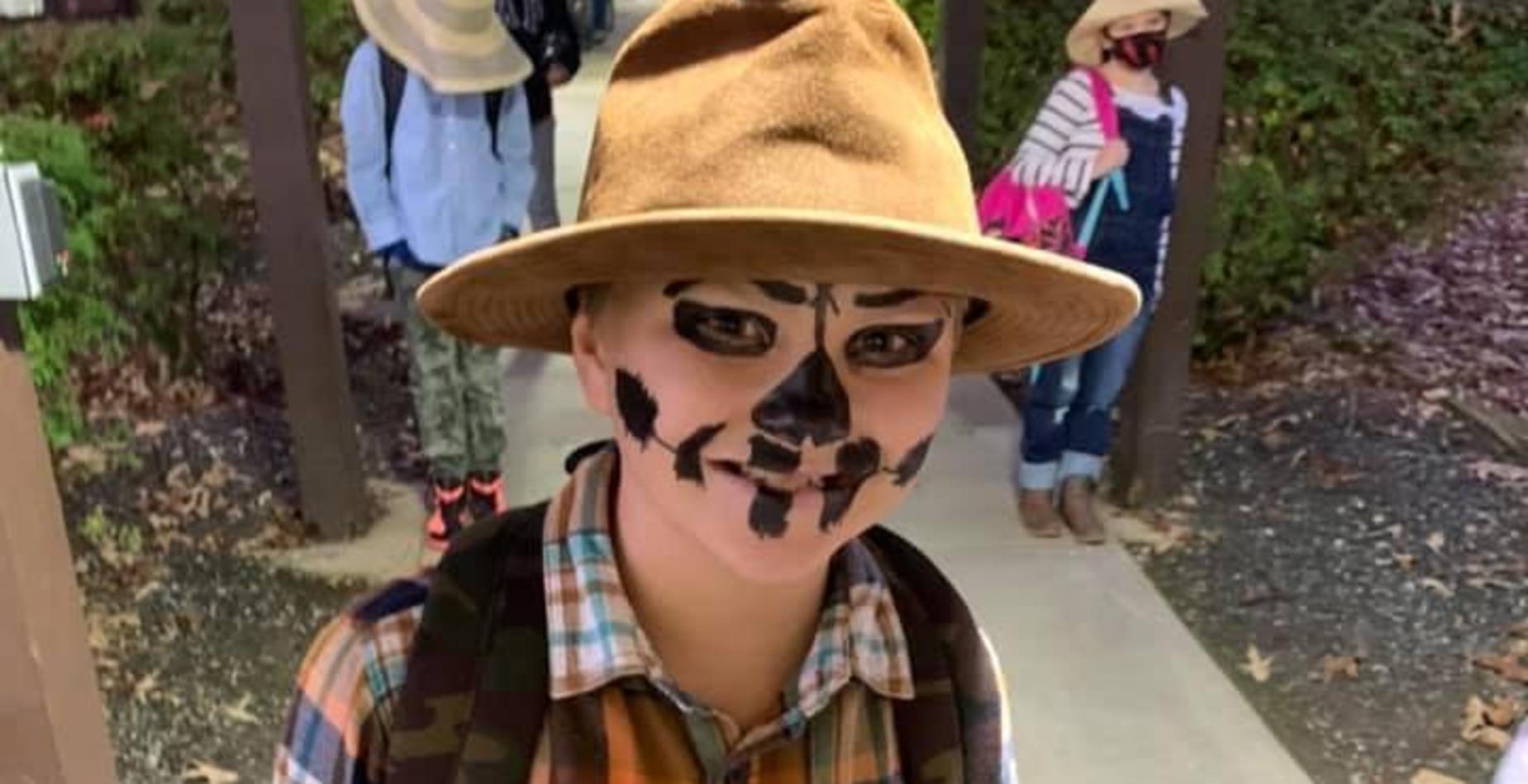 Student in scarecrow costume