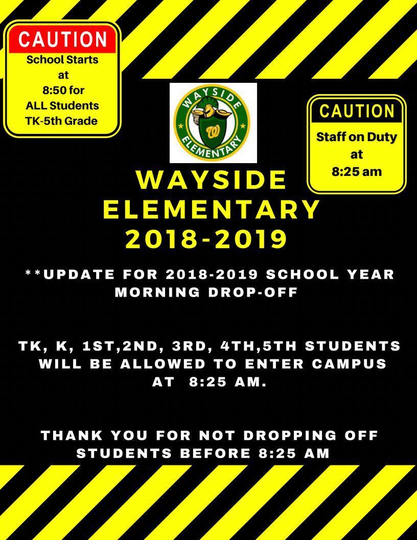 Wayside's New Bell Schedule