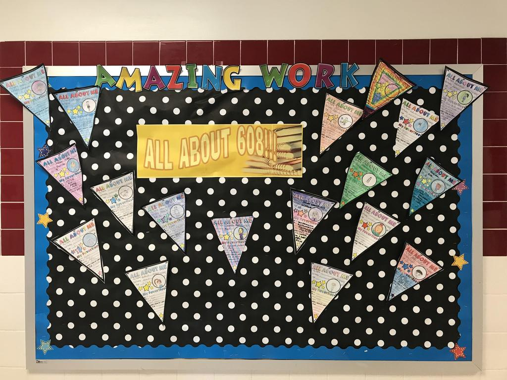 bulletin board display: rm 608 work pendant of good work
