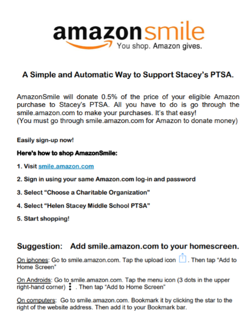 Join Amazon Smile and a percentage of your purchase will be donated to Stacey.
